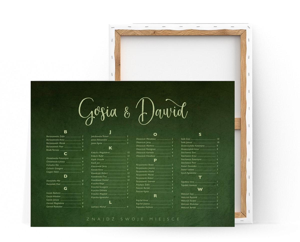 Plan stołów z intenywnym zielonym tłem i alfabetycznym spisem gości