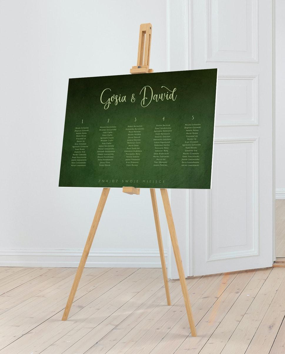 Plan stołów z motywem zieleni greenery