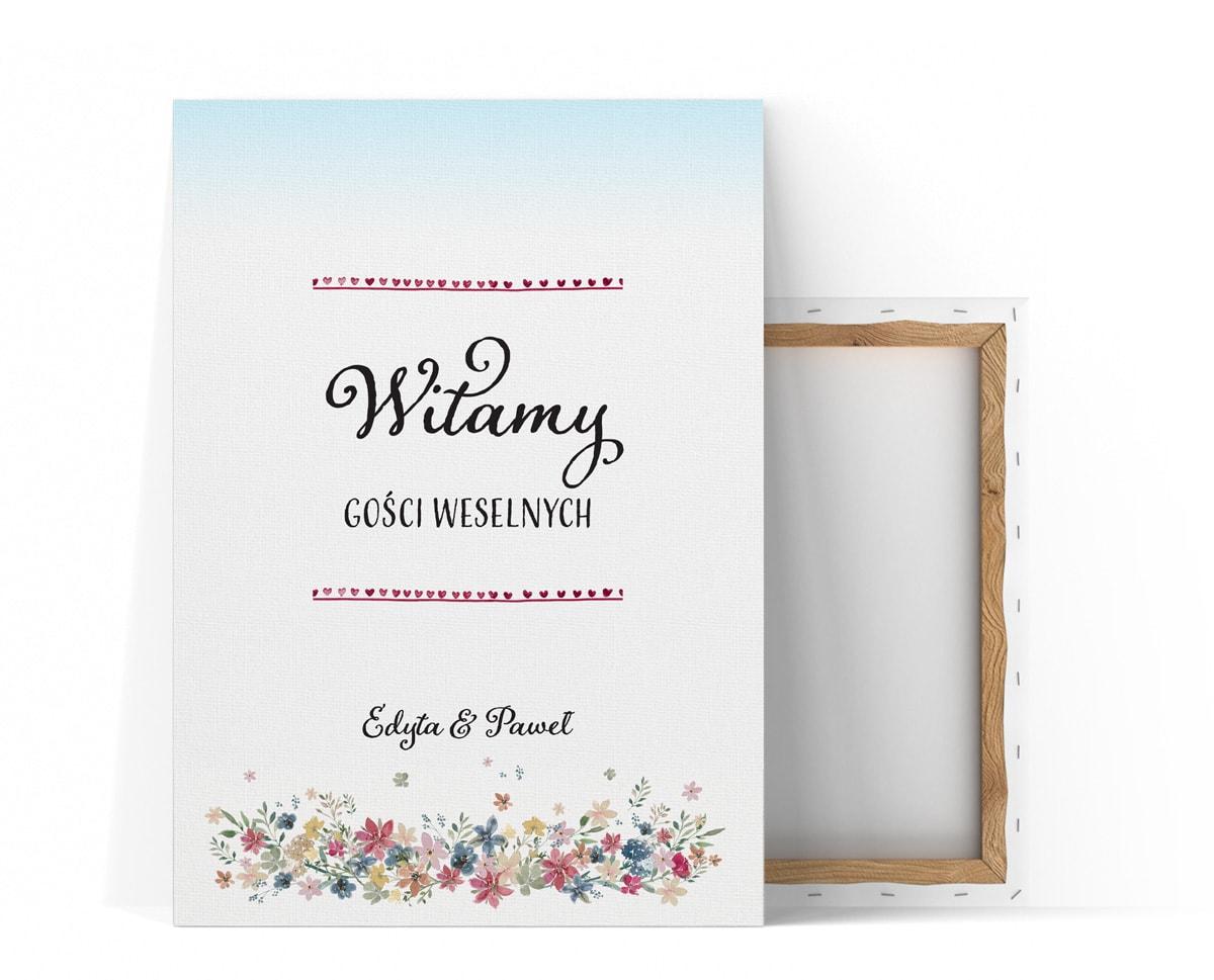 Tablica witająca gości weselnych, styl rustykalny, polne kwiaty