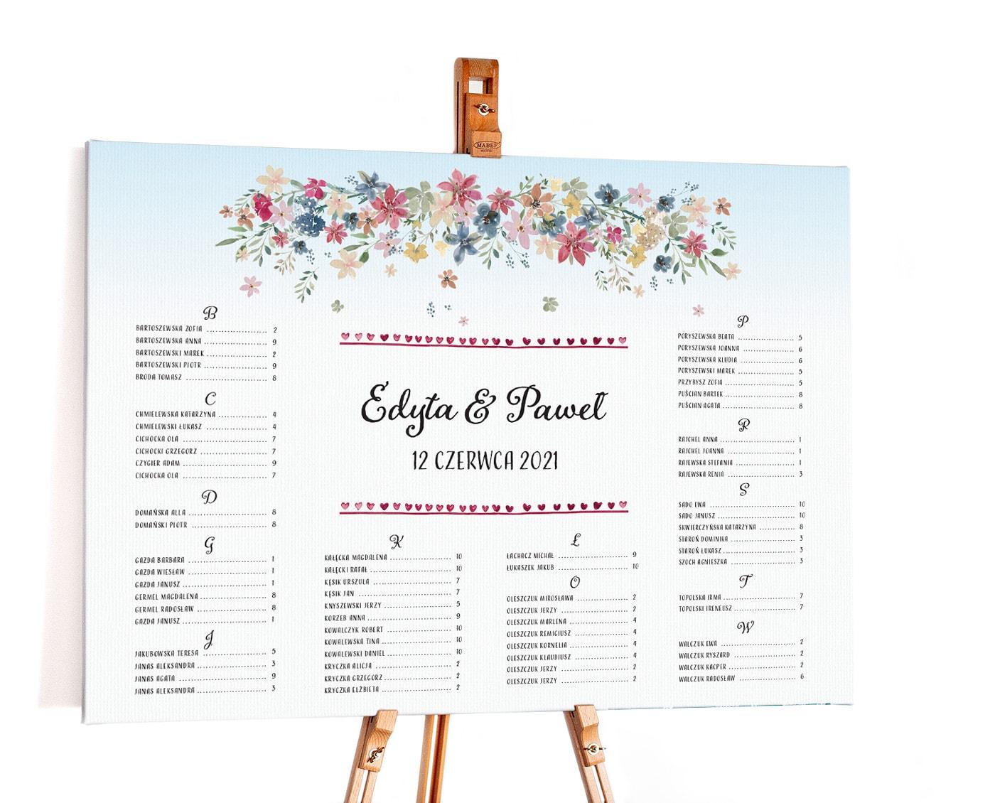 Tablica usadzenia gości w stylu rustykalnym z polnymi kwiatami
