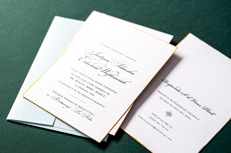 Zaproszenia glamour na biały papierze ze złotą ramką