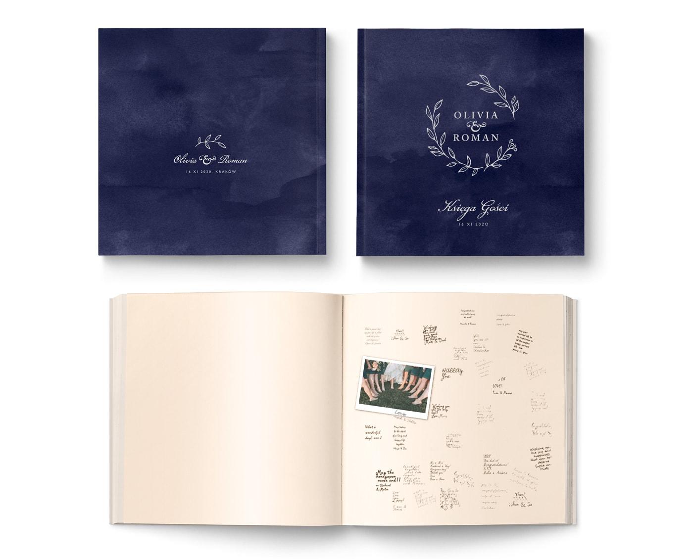 Tradycyjna księga gości w formie albumu na zdjęcia i podpisy