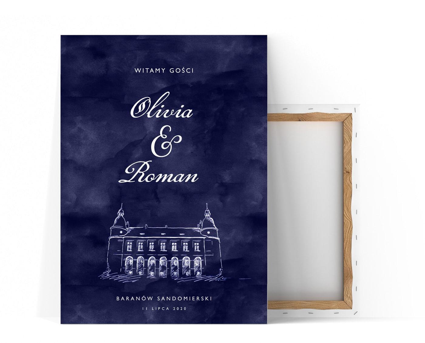 piękna tablica powitalna na wesele, granatowe tło, biała ozdobna czcionka i szkic zamku