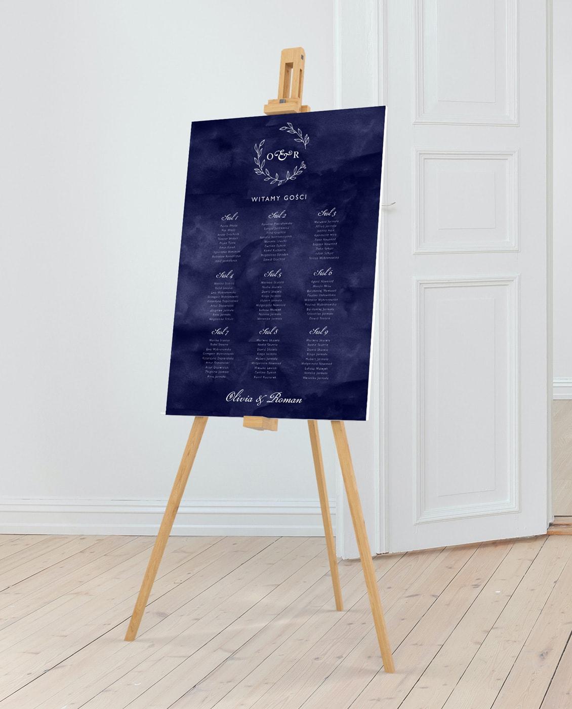 plan stołów na eleganckie wesele, klasyczny z monogramem