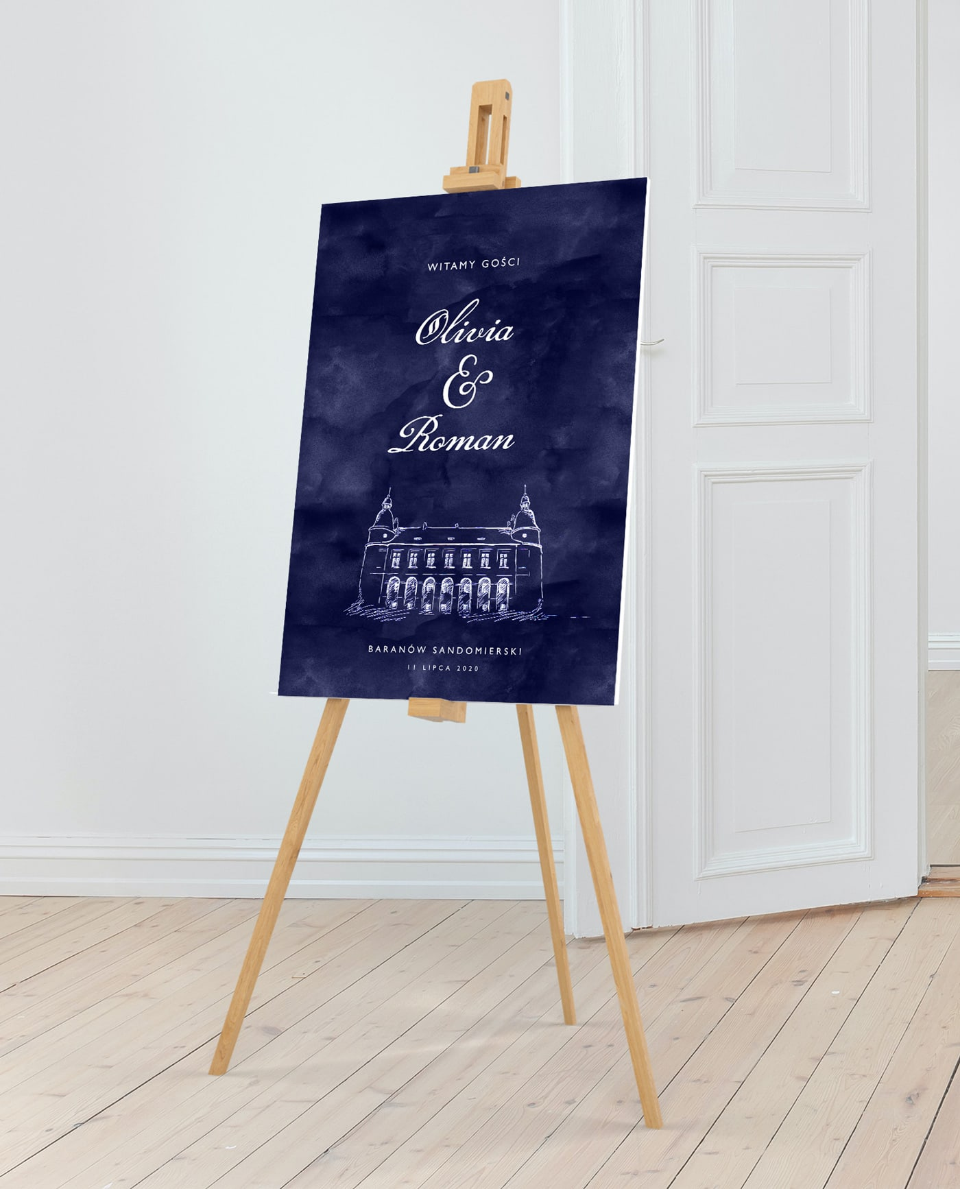 tablica powitalna na eleganckie wesele na zamku
