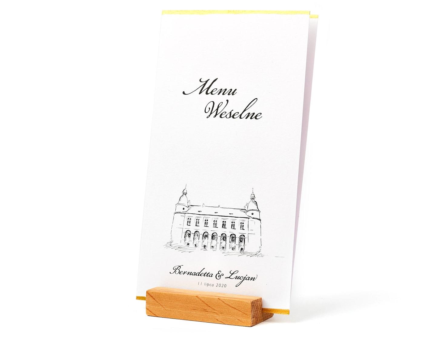 Drewniane podstawki na karty menu