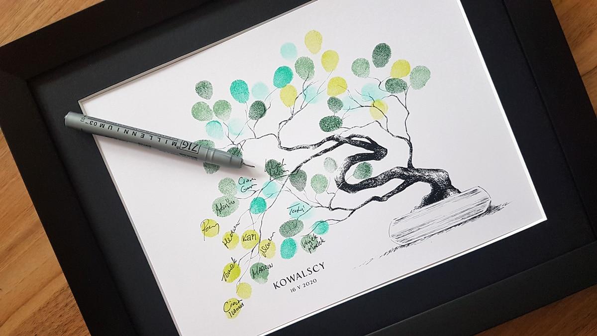 Drzewko bonsai na pamiątkowe podpisy gości