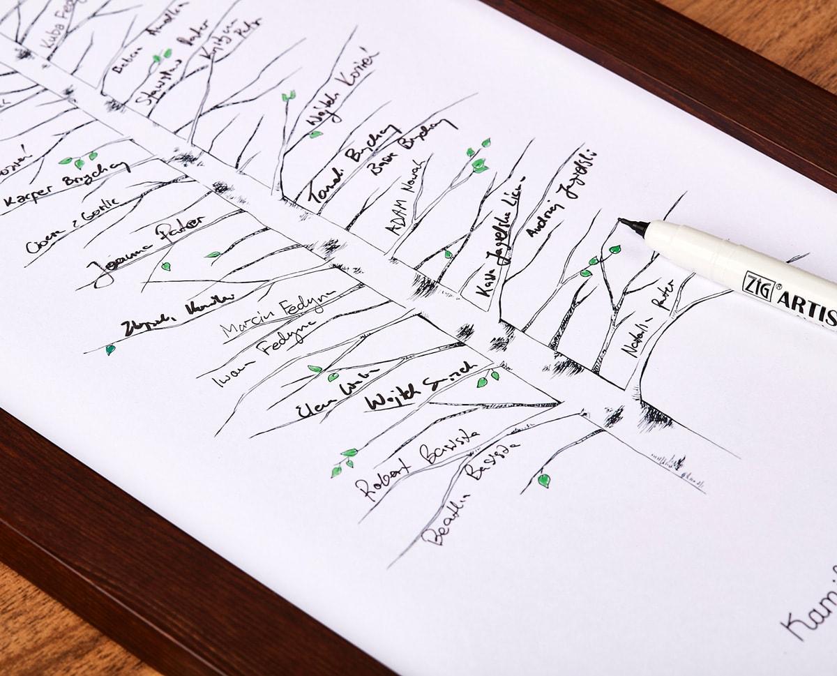 Księga gości brzoza w drewnianej ramie na podpisy