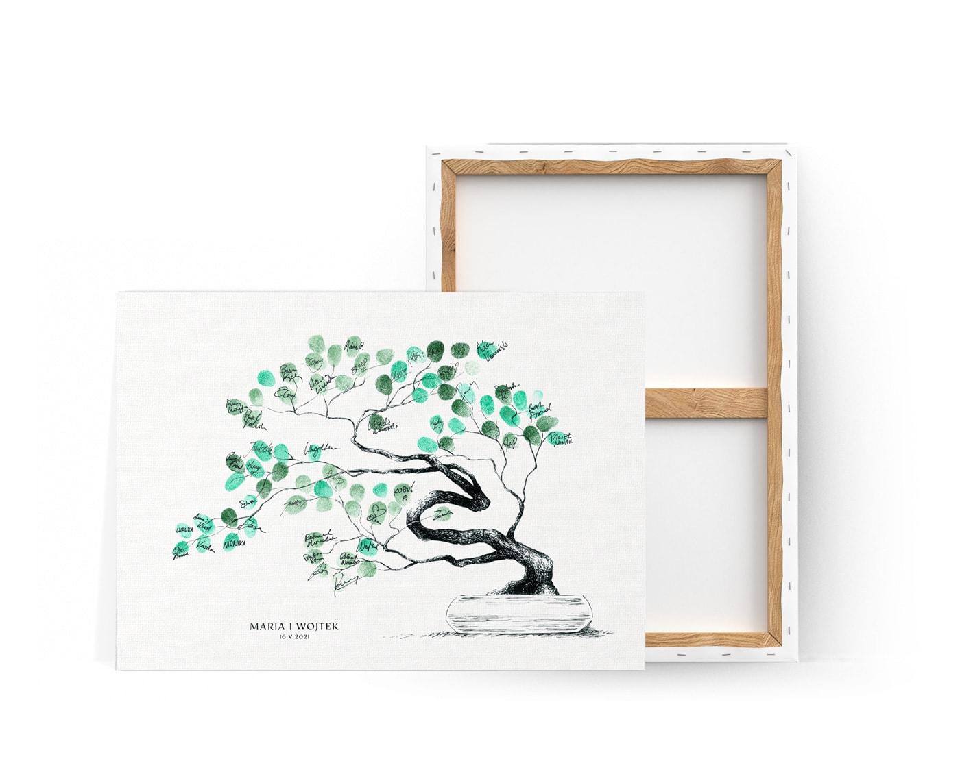 Księga gości z rysunkiem drzewka bonsai na którym goście pozostawiają odciski palców