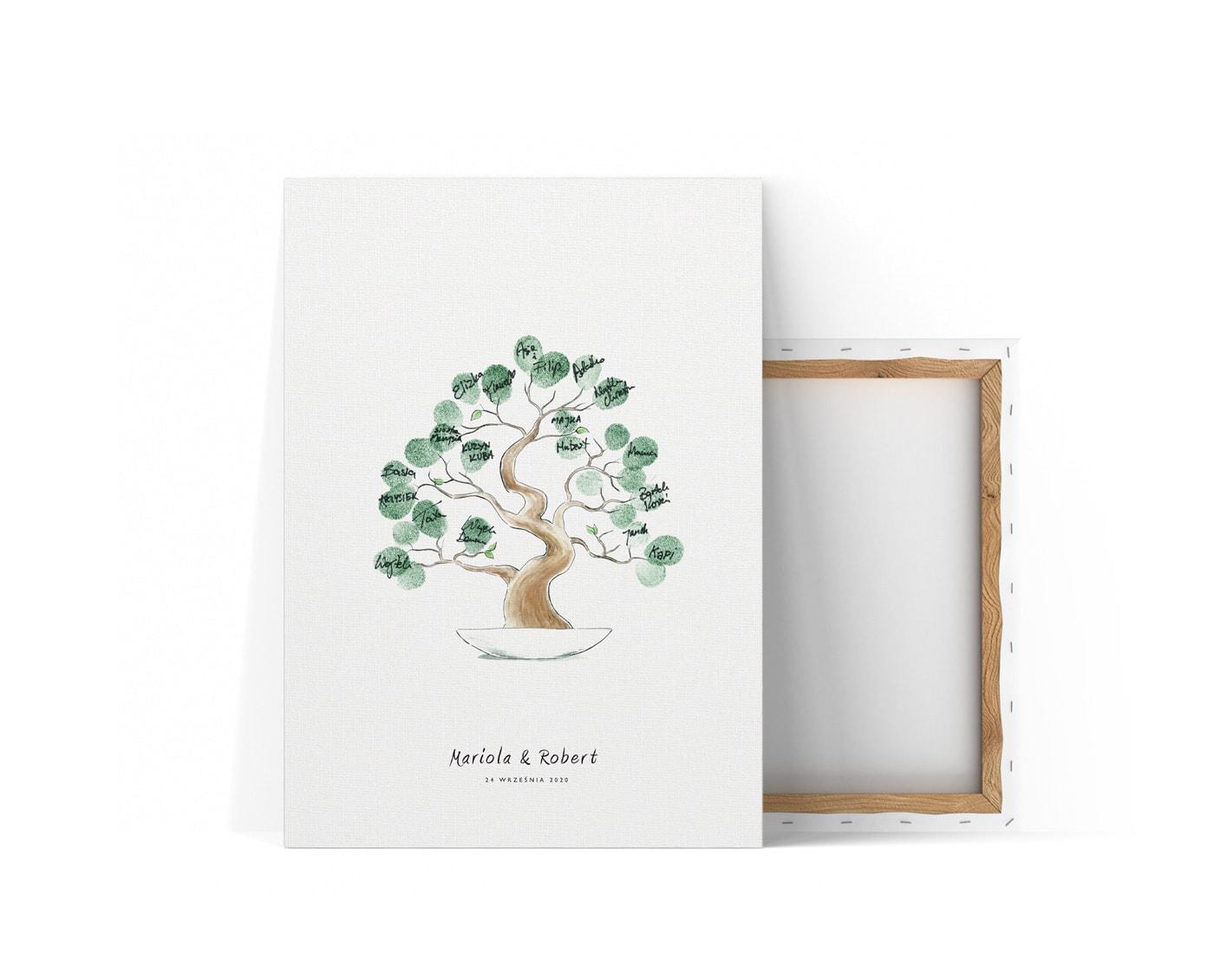 Księga gości na odciski palców z ilustracją drzewka bonsai