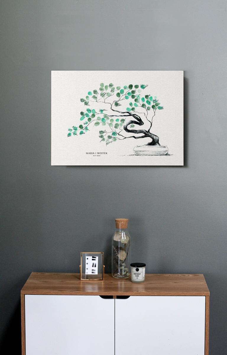 obraz z drzewkiem bonsai w formie księgi gości do pozostawiania odcisków palców