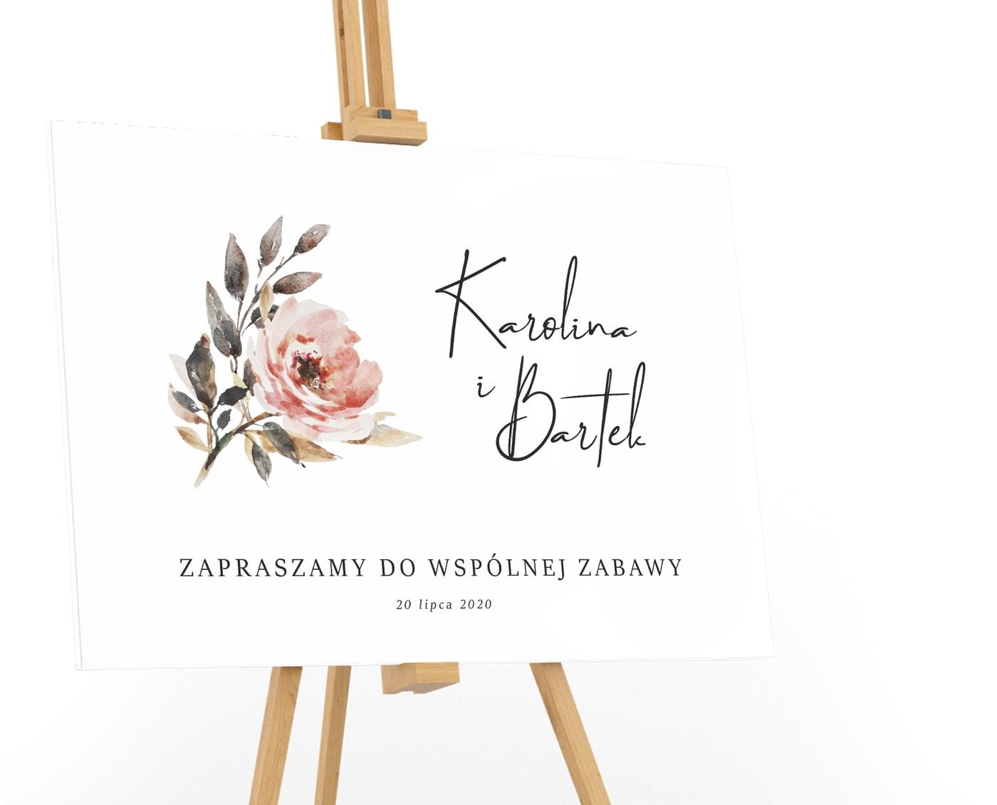 Tablica powitalna na ślub z duża różą w pastelowych kolorach