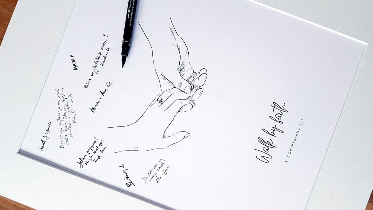 rysunek trzymających się dłoni, pomysł na pozostawianie życzeń przez gości