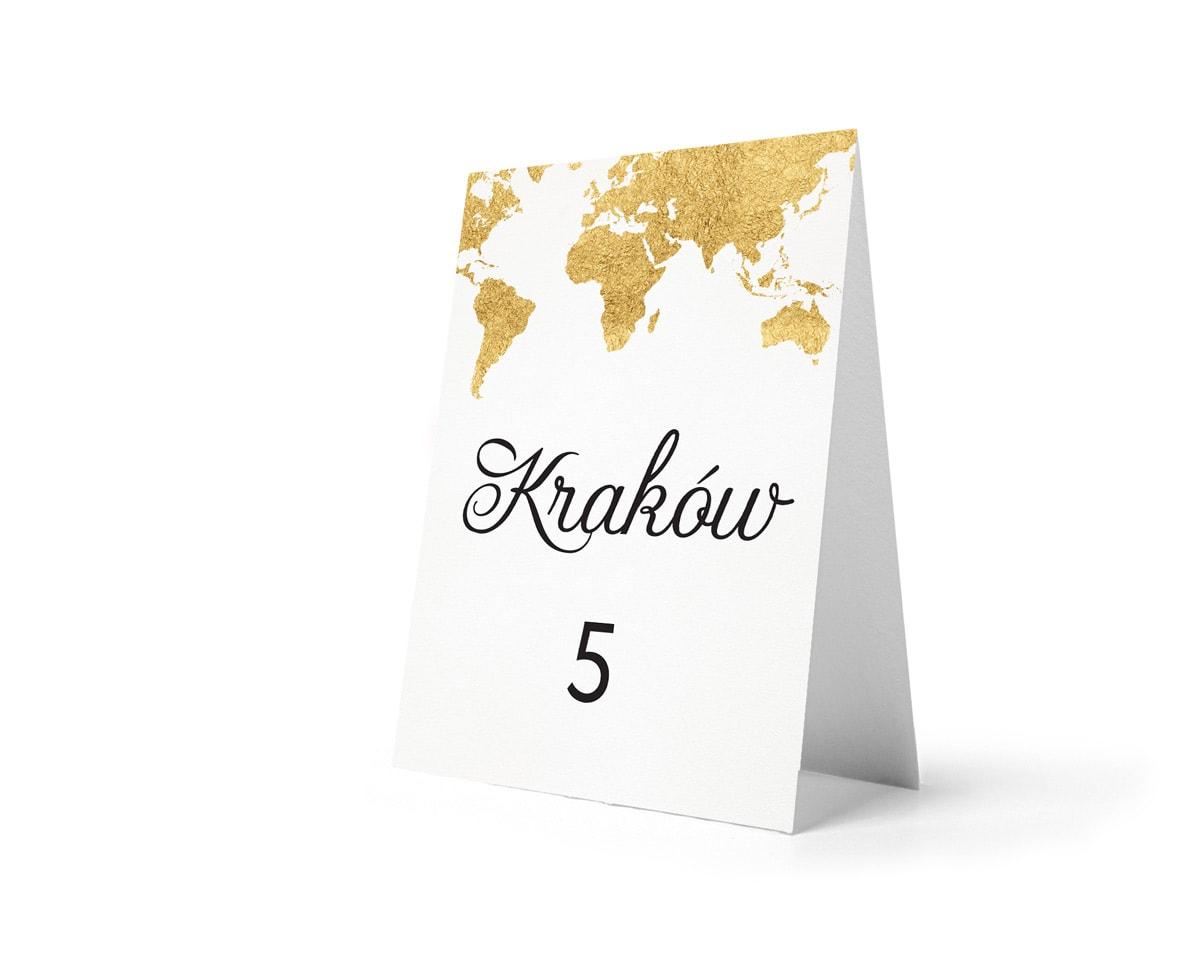 Numery na stoły weselne mapa świata złote