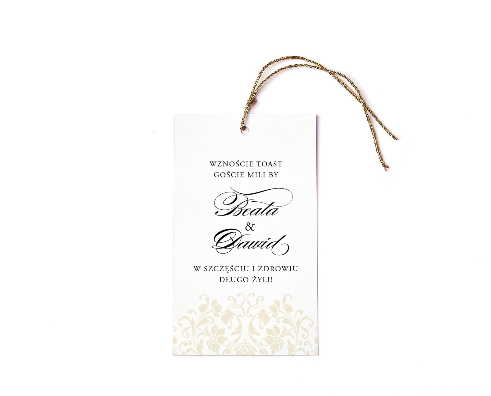 Zawieszki na sznureczku do powieszenia na butelce, eleganckie z ornamentami