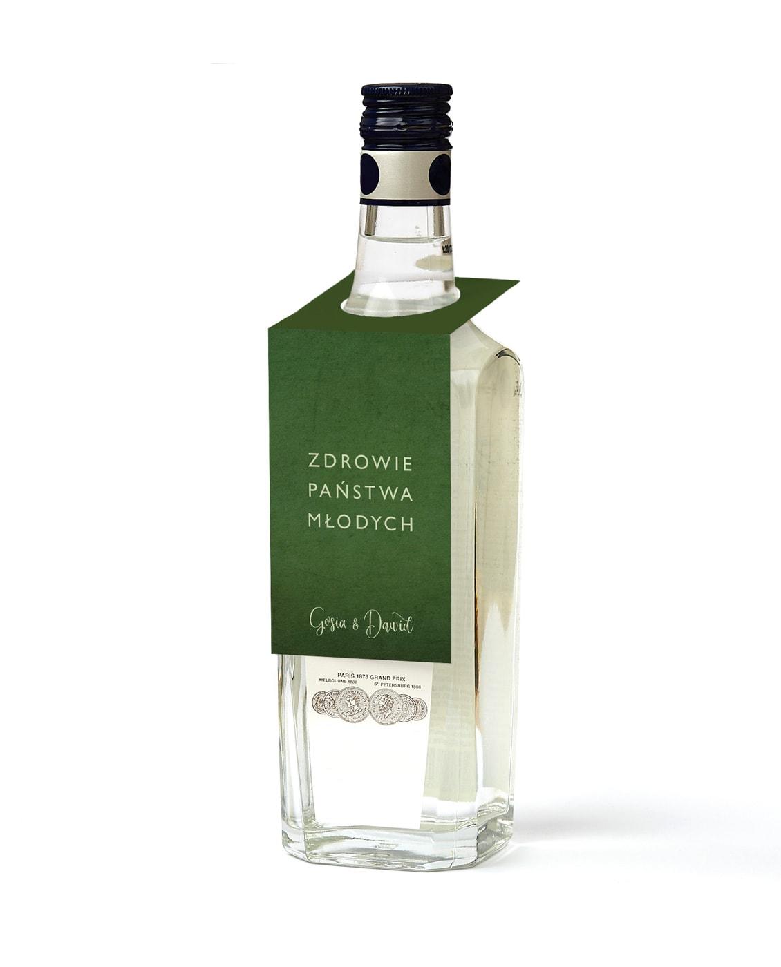 Zawieszki do powieszenia na szyjce butelki w kolorze ciemnej zieleni