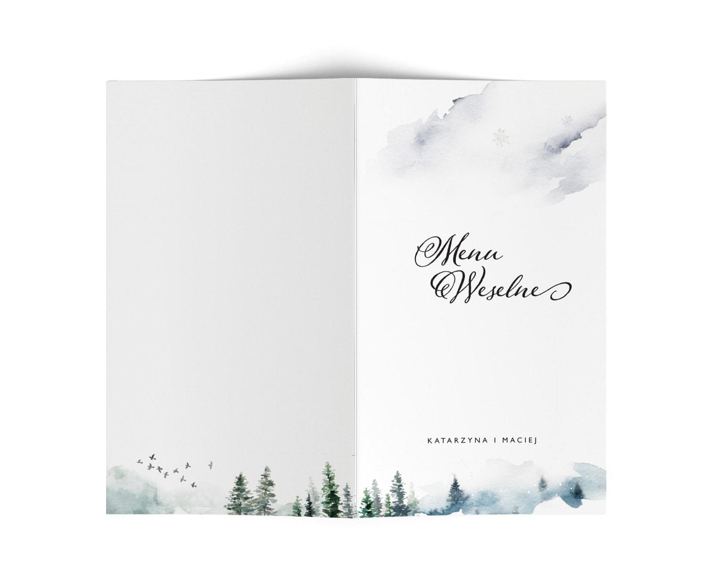 Karty meny na przyjęcie weslene w zimowym stylu