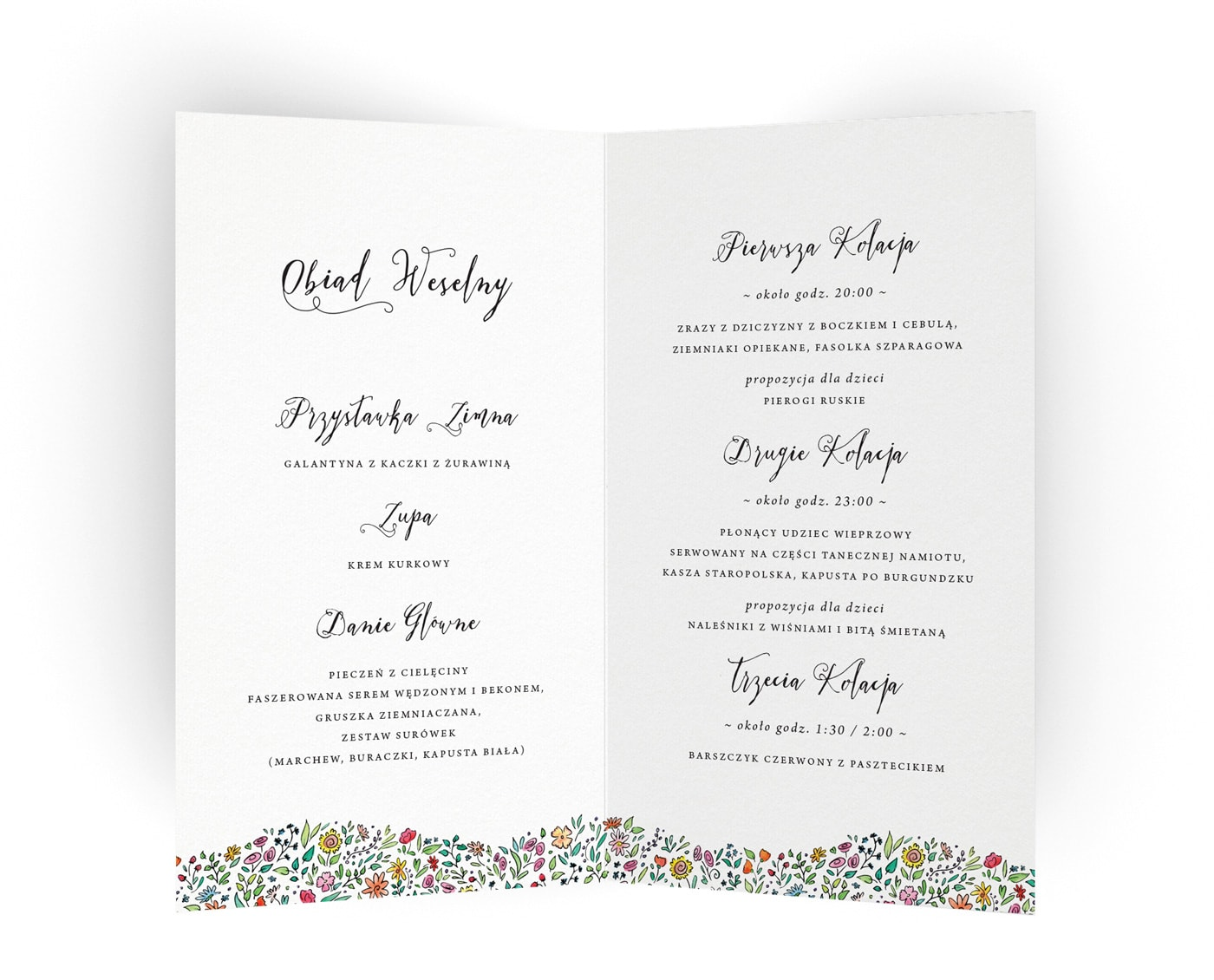 Karty menu na weselne z listą podawanych dań