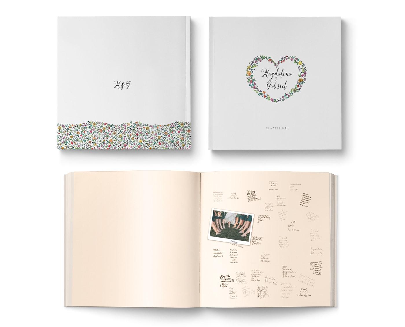 Tradycyjna księga gości weselnych w stylu kwiatowym