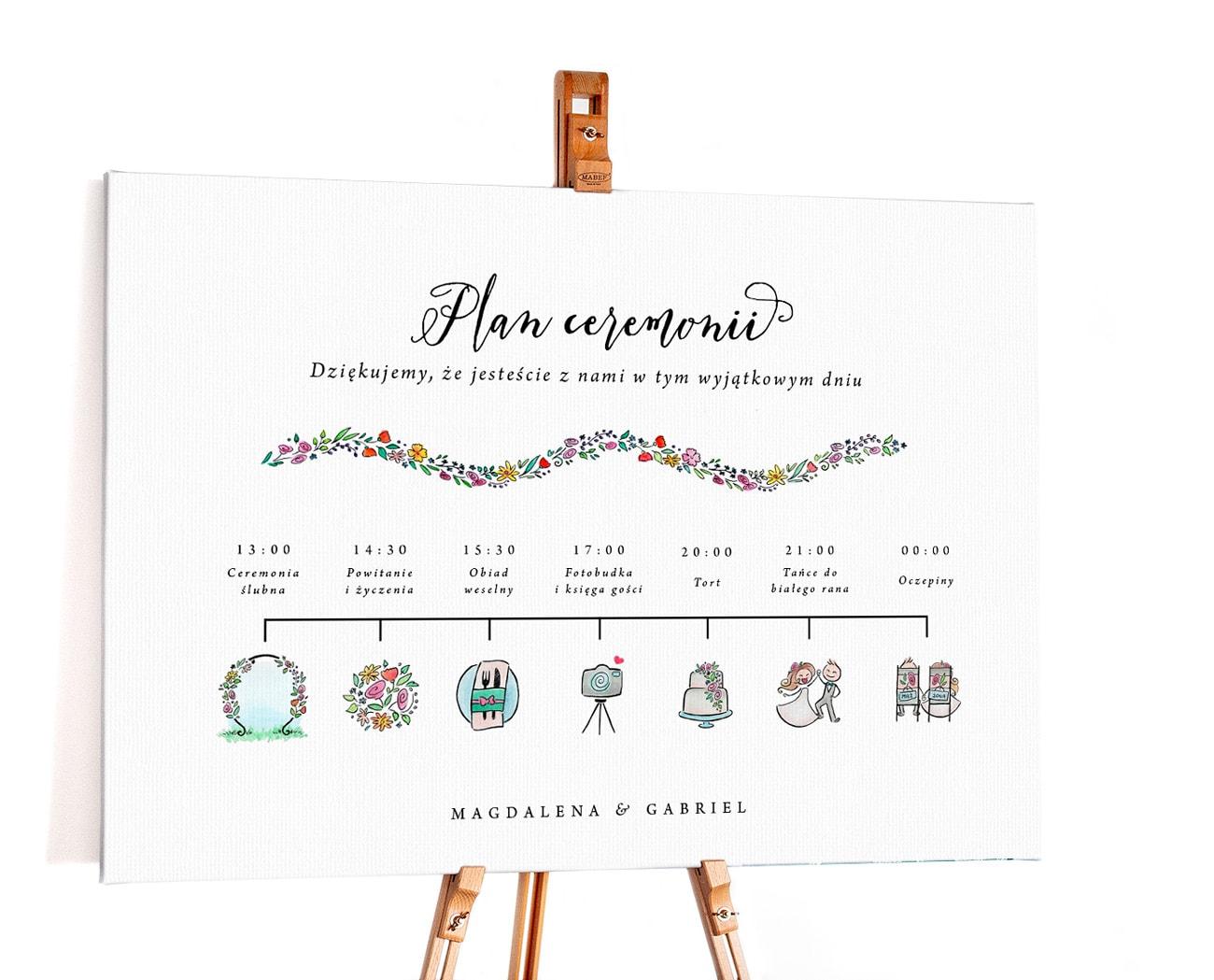 Plan ceremonii ślubnej z kolorowymi ilustracjami wydarzeń