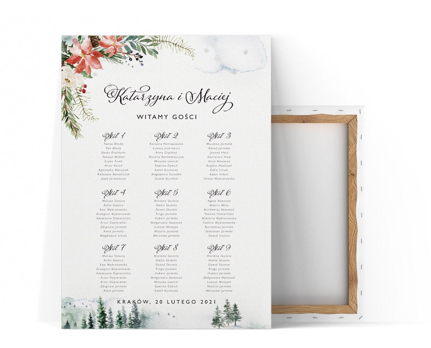 plan stołów weselnych z zimowym motywem przewodnim