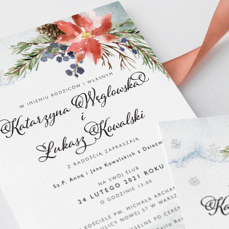 Zaproszenia na ślubn w zimowym klimacie
