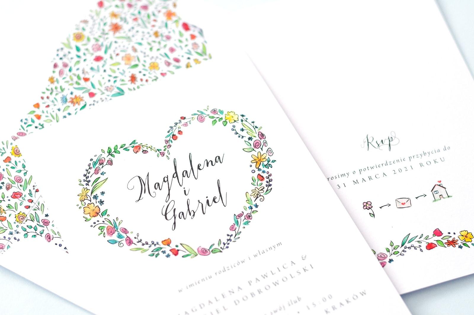 Kwiatowe zaproszenia na ślub wiosną, kolorowe kwiaty i kaligrafia