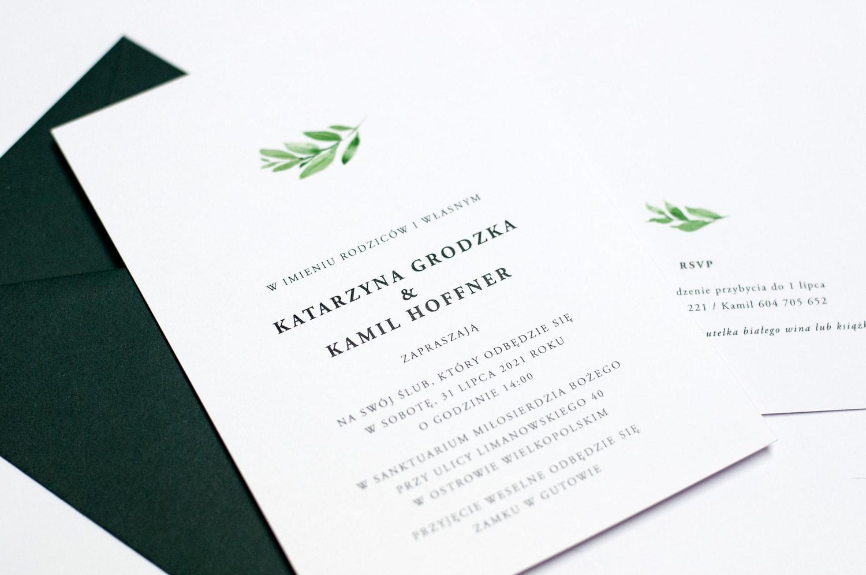 Zaproszenia ślubne proste, eleganckie z listkiem