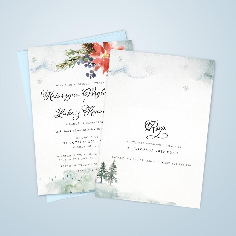 Zaproszenia na zimowe wesele z ozdobną czcionką