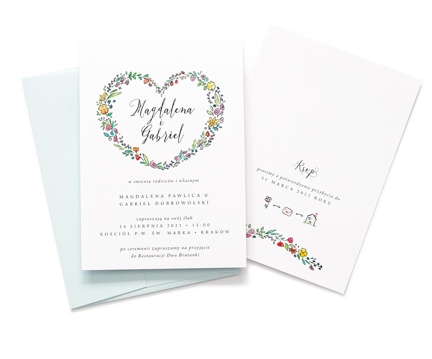 Zaproszenia ślubne z drobnymi kolorowymi kwiatuszkami w kształcie serca