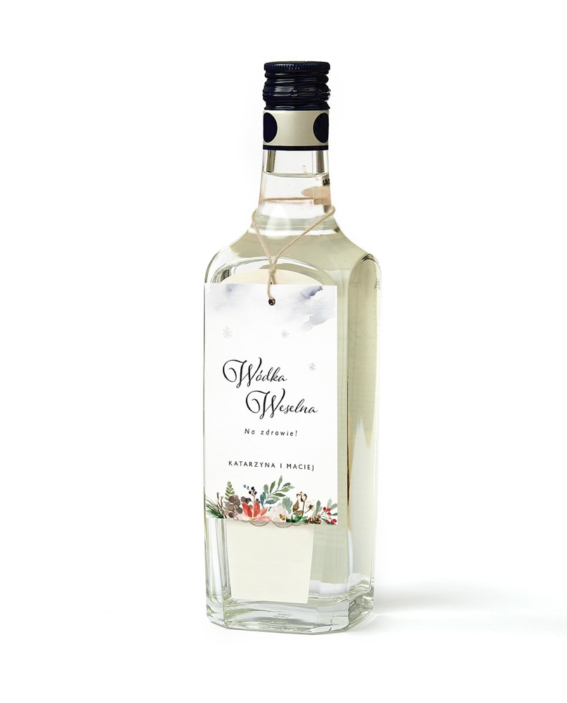 Zawieszki na alkohol z zimową grafiką