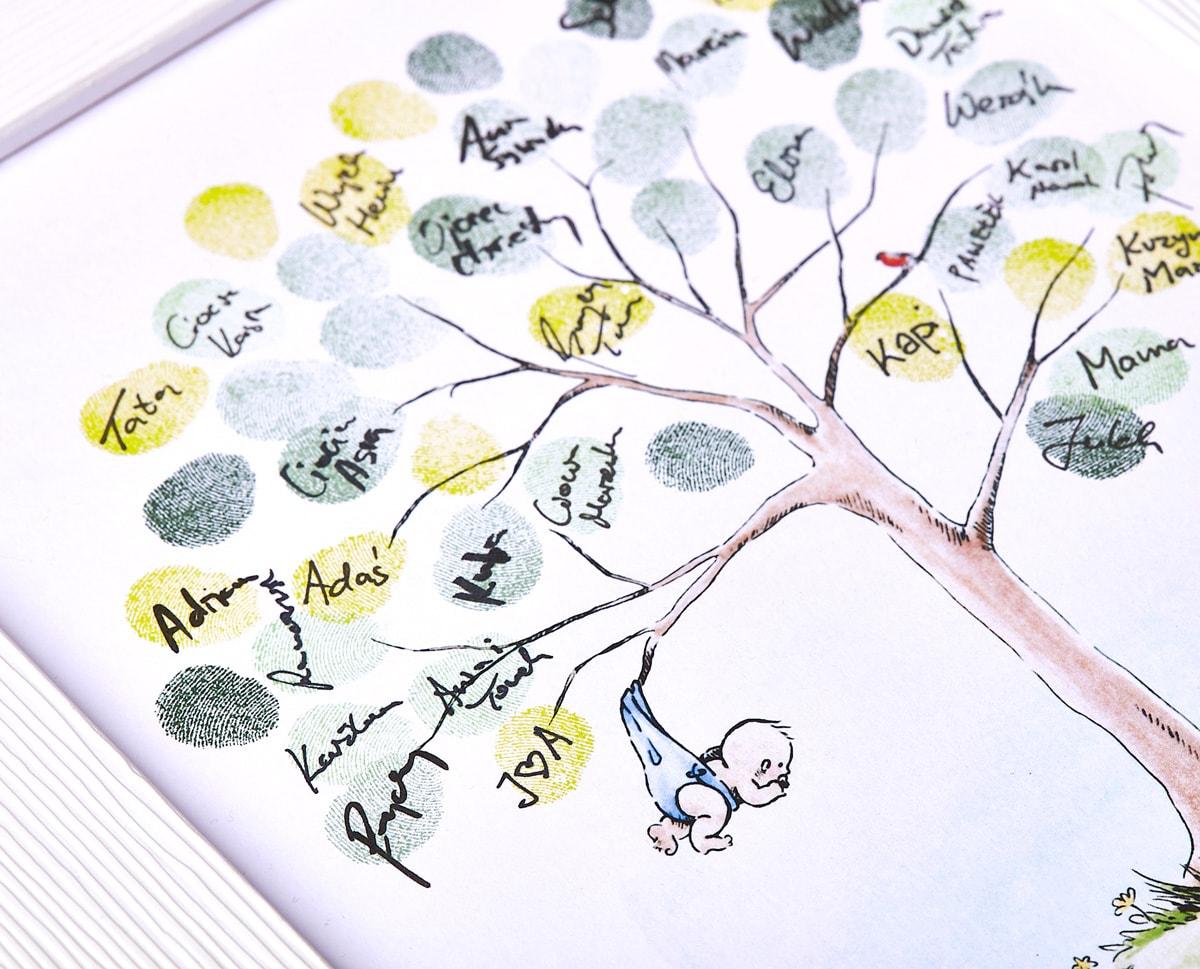 Drzewko na odciski palców, pamiątka urodzin dziecka
