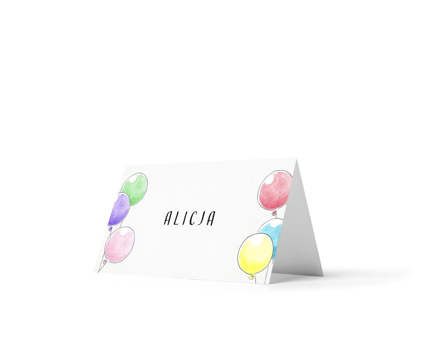 Winietki z imionami dzieci i rysunkiem dużych kolorowych balonów
