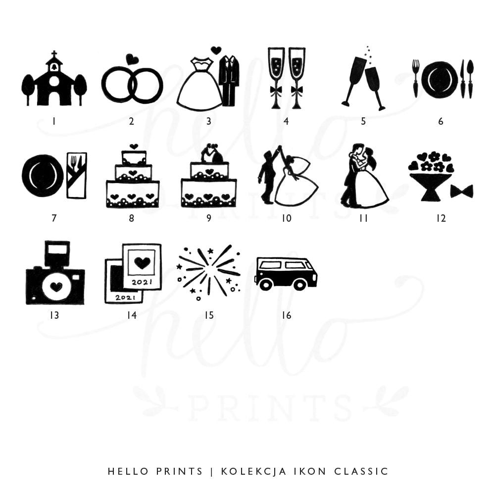 ikony do planu ceremonii ślubnej classic