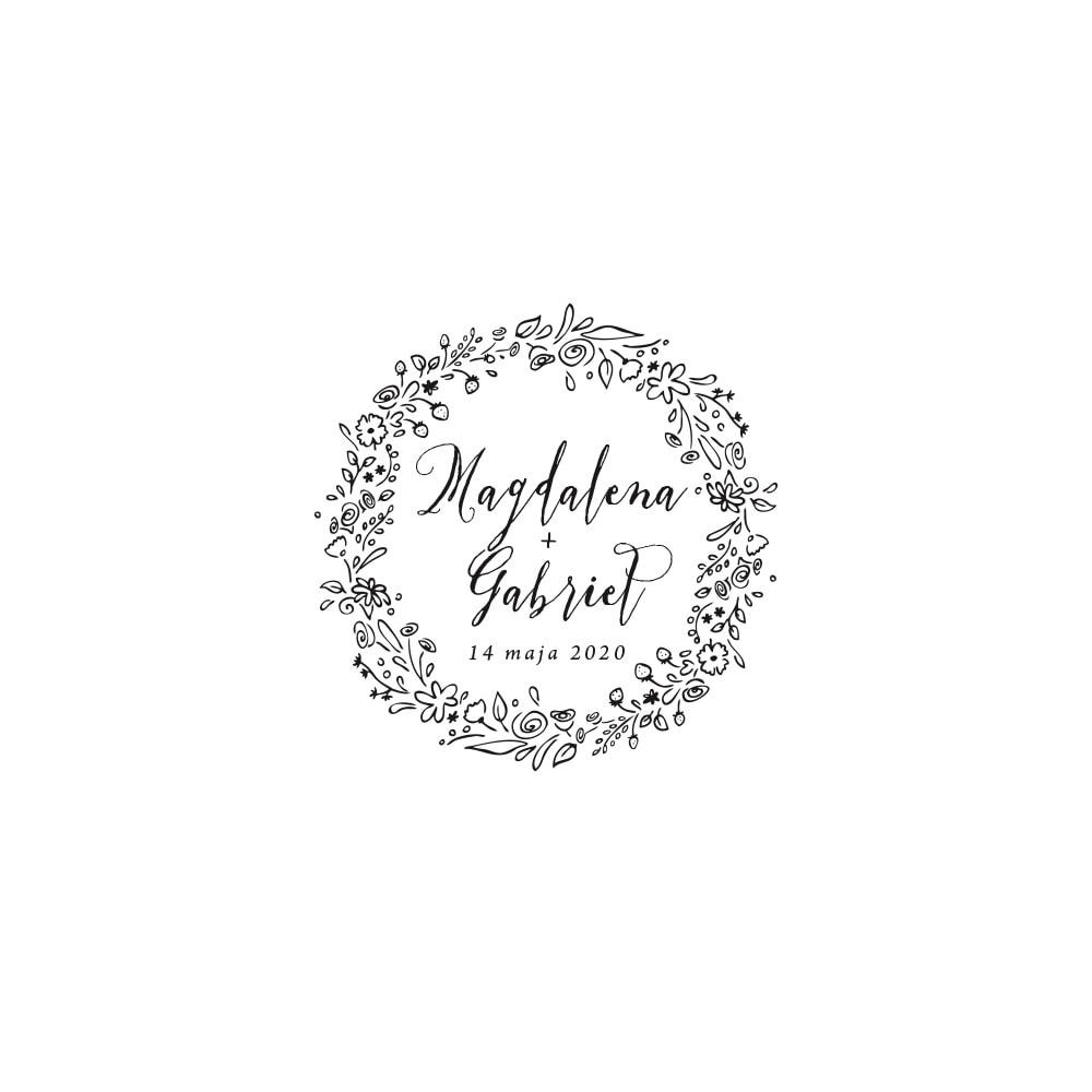 Rysunek polnych kwiatów z kaligrafią