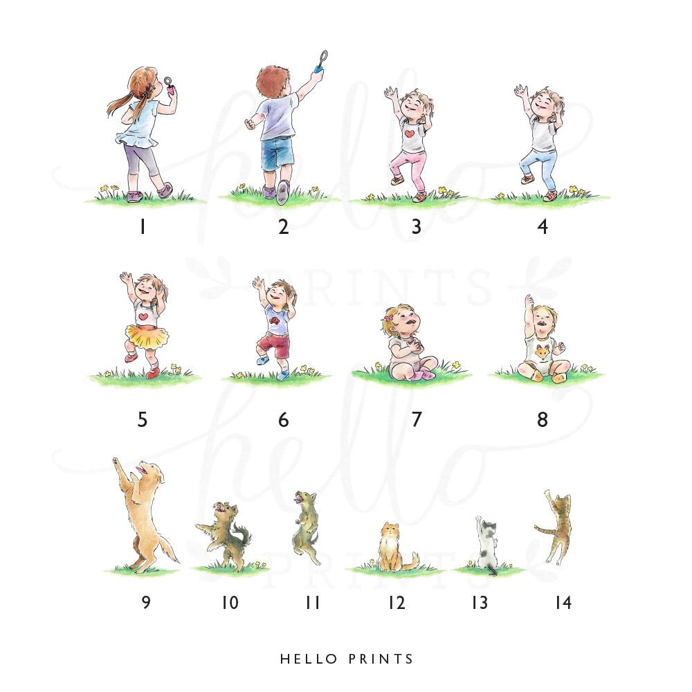 Ilustracje bawiących się dzieci z bańkami mydlanymi