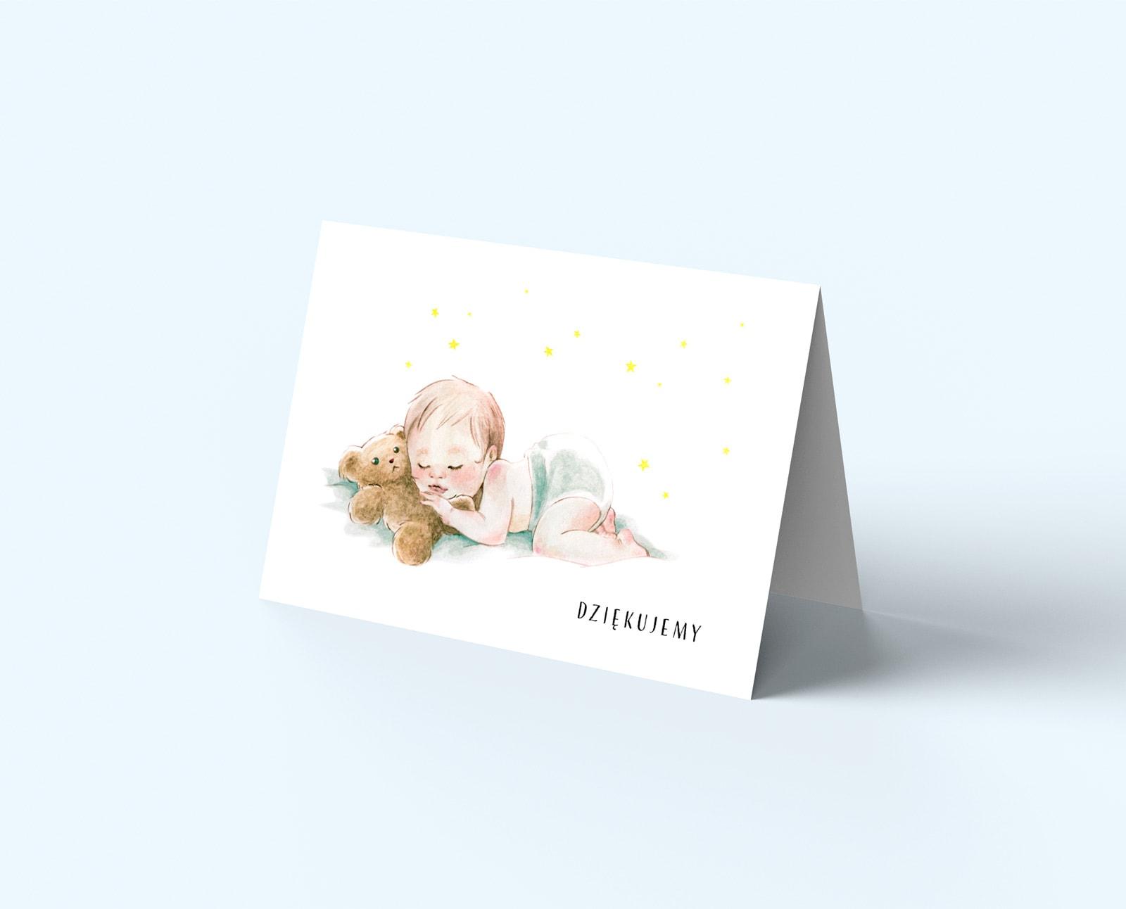 Eleganckie kartki z podziękowaniami dla gości, śpiące dzidziuś z misiem
