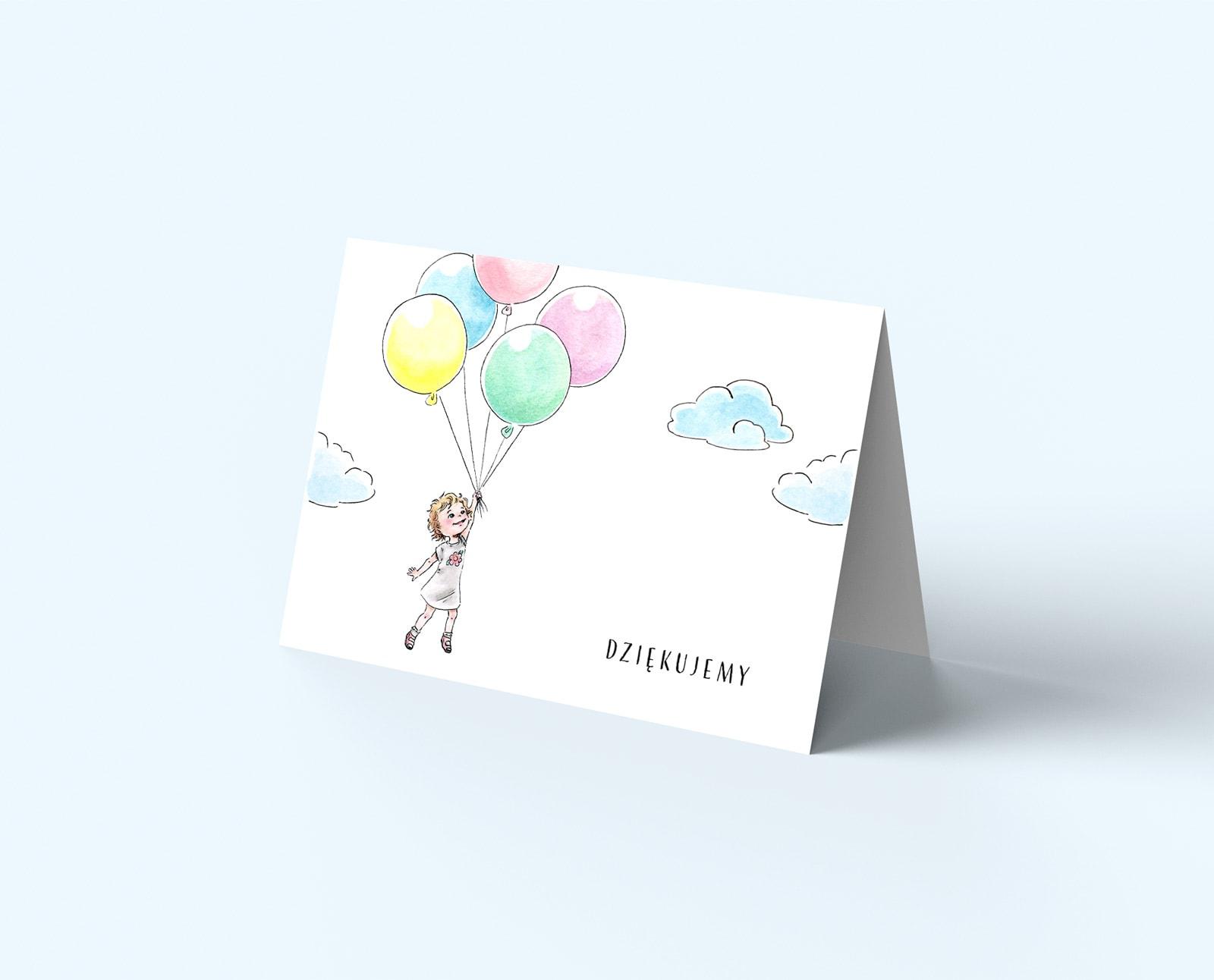 Składane kartki z podziękowaniami, kolorowa okładka z dziewczynką z balonami