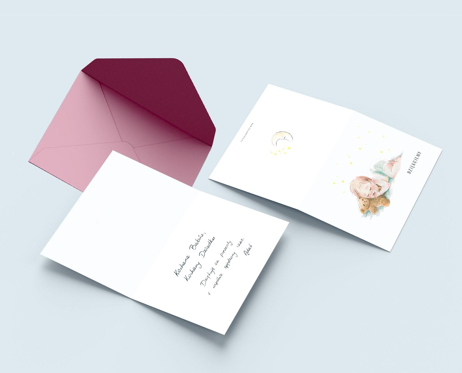 Kartka skłądane do wypisania podziękowań dla gości za prezenty