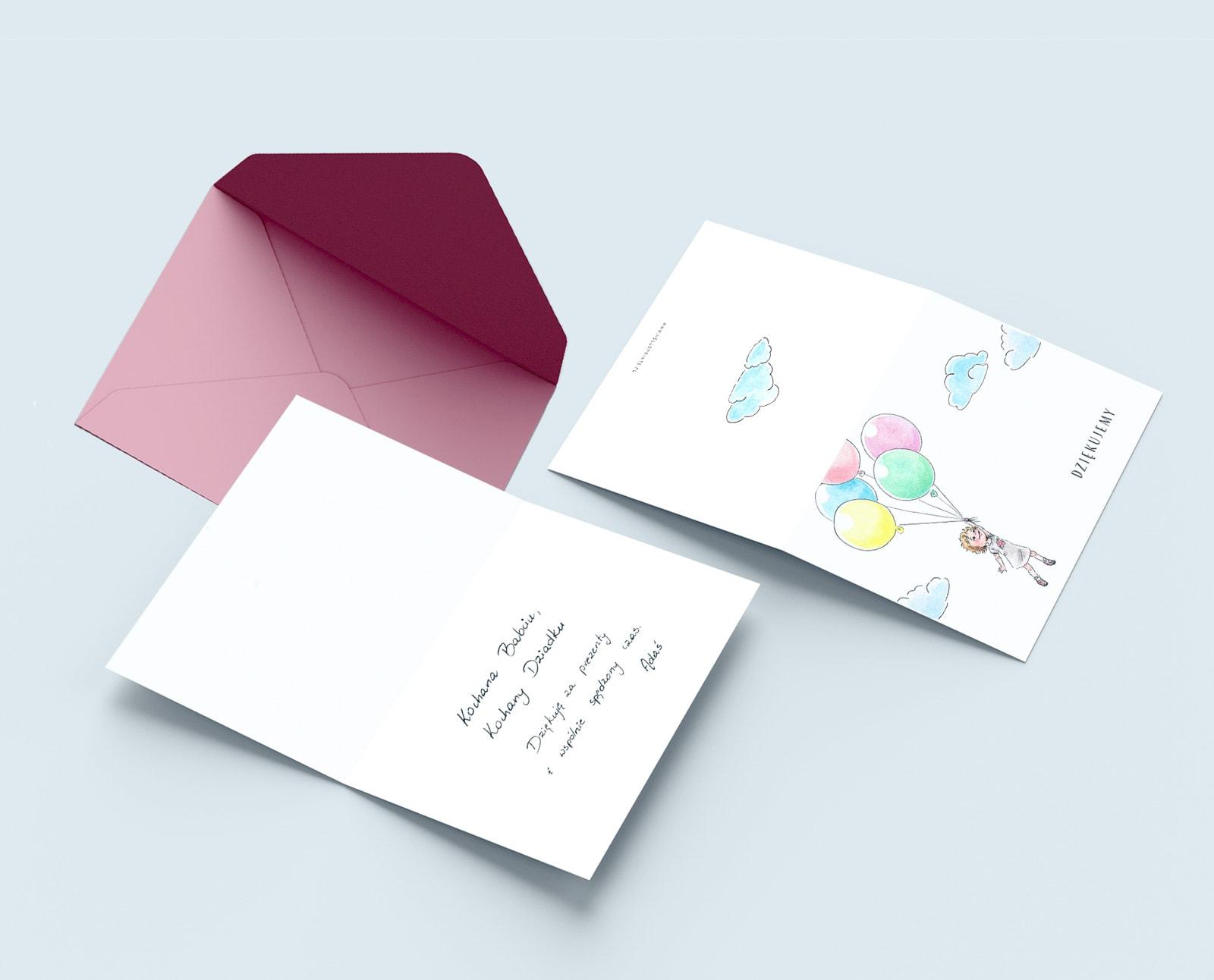 Kartki do wypisania podziękowania dla gości z przyjście na urodziny