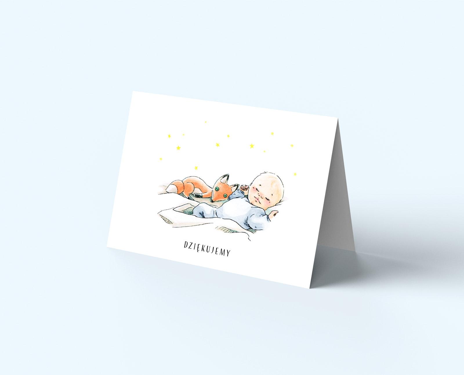 Kartki z podziękowaniem, skłądane z rysunkiem liska na okładce