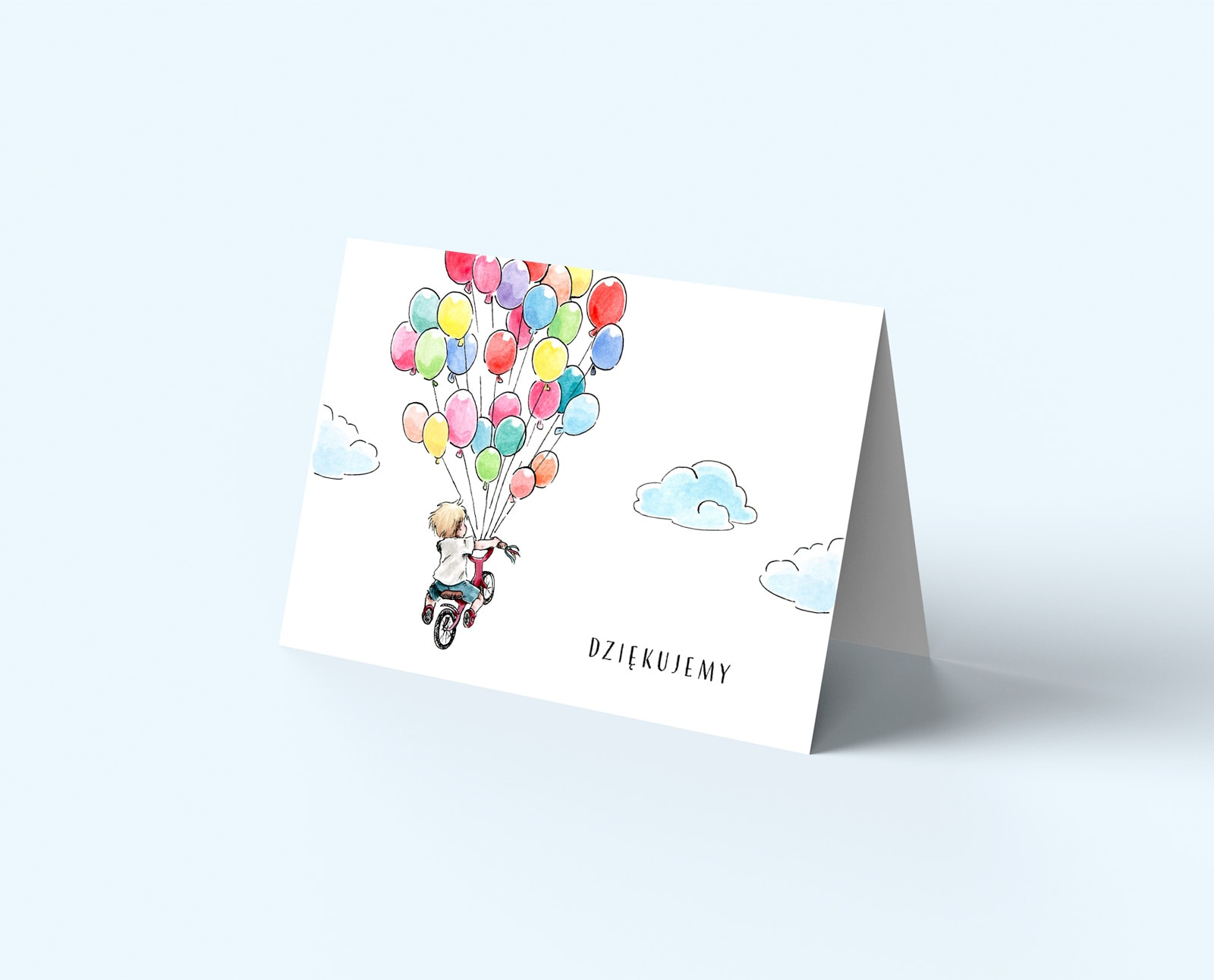 Kartki do wypisania podziękowań dla gości, chłopiec na rowerku z balonami