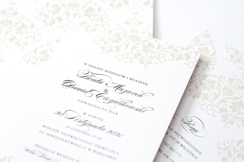 Klasyczne zaproszenia zdobione ornamentami na elegancki ślub