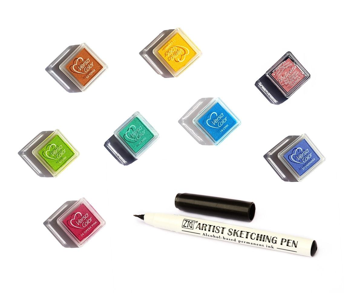Kolorowe tusze do zrobienia odcisków palców