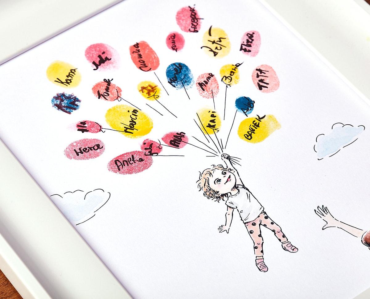 Rysunek dziewczynki trzymającej baloniki i lecącej w chmurach