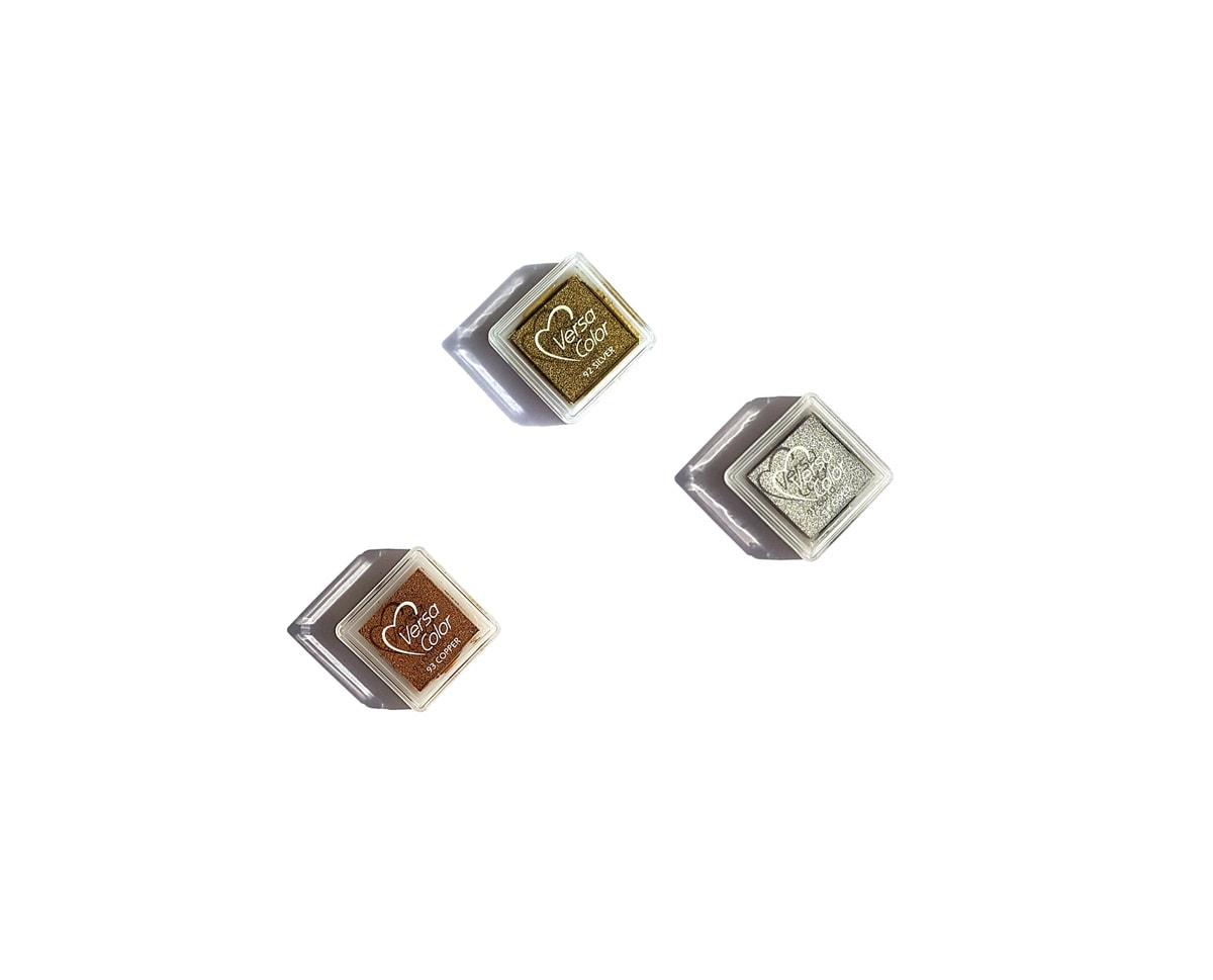 metaliczne poduszki z tuszem, złote, srerbne, miedziane