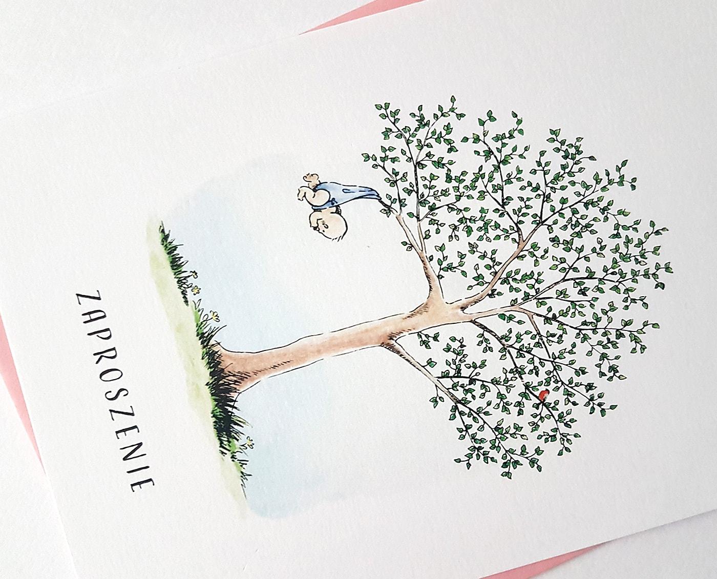 ilustracja drzewka ze zwisającym niemowlęciem