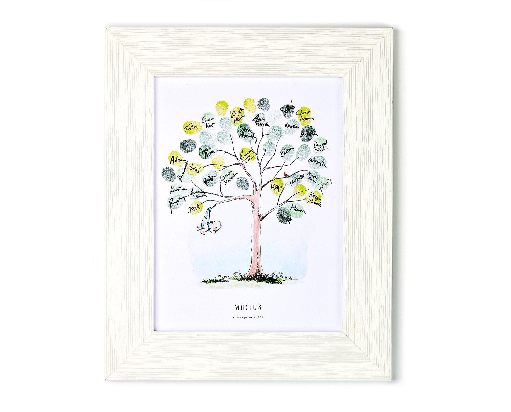 Pamiątka urodzinowa, drzewko na odciski palców gości