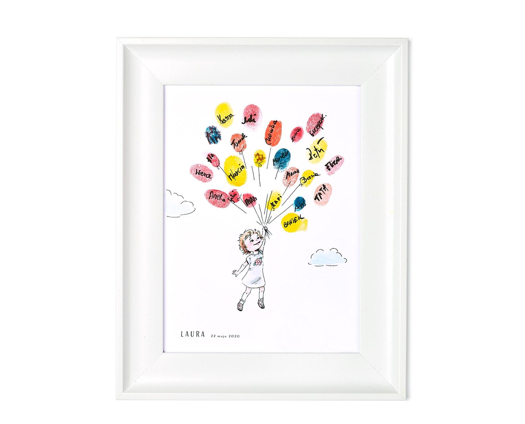 pamiątka urodzinowa dla dziecka, obrazek na odciski palców do powieszenia na ścianę