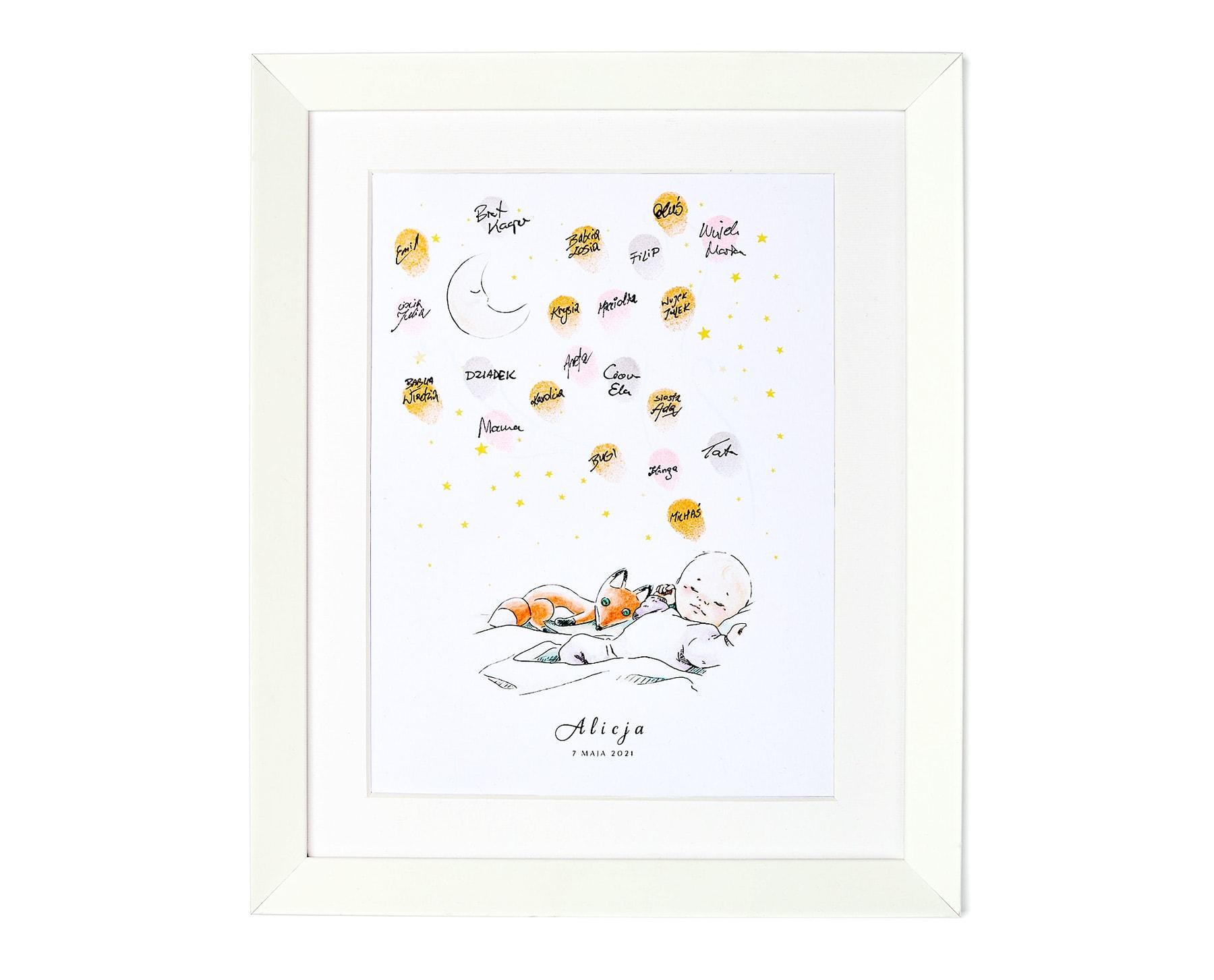 Pamiątka urodzinowa, obrazek śpiącego dziecka z liskiem z odciskami palców gości
